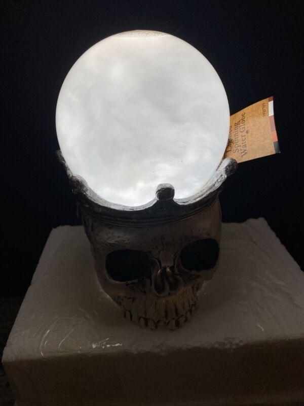 """Swirling Skull Halloween Snow Globe 7.5"""" Lighted Crystal Ball Skeleton King"""