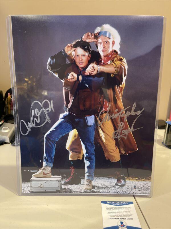 Michael J Fox Christopher Lloyd Signed Back To The Future 11x14 Photo Beckett