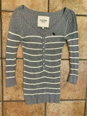 ABERCROMBIE GREY WHITE STRIPED RIBBED KNIT SWEATER 3/4 SLEEVE BUTTON DOWN M L