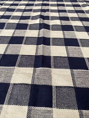Navy & White Plaid Check Cotton Acrylic Farmhouse Tablecloth Topper - Picnic
