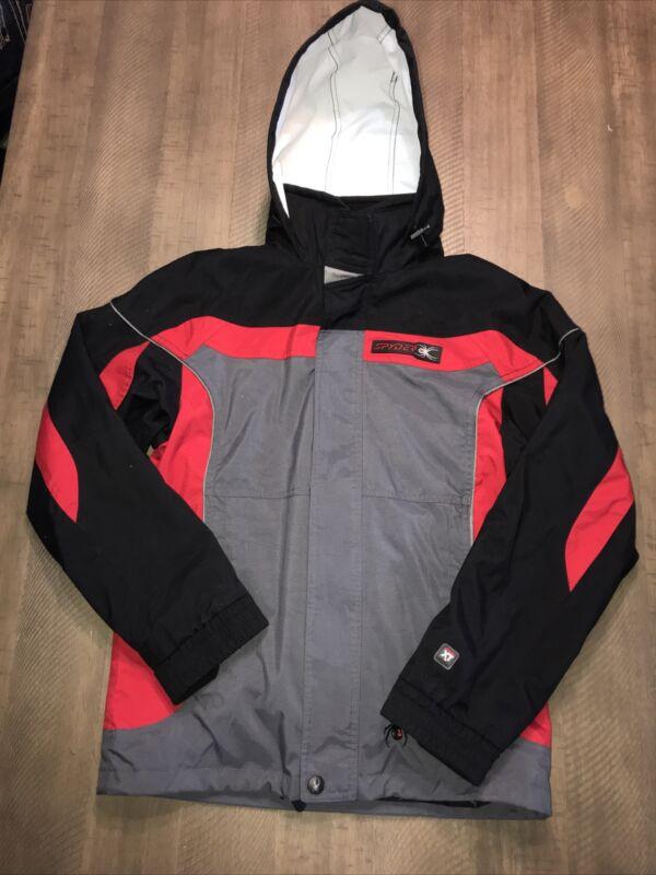 Boys SPYDER Hooded 3-1 Ski Snowboarding 🏂NYLON COAT Sz 14 EUC  Zip Pockets