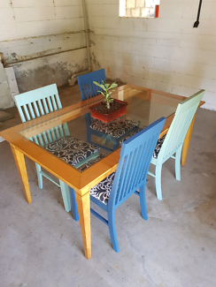 Glass top table and 4 retro chairs