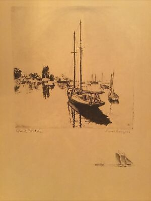 """Vintage """"QUIET WATERS"""" Talio-Crome Print By LIONEL BARRYMORE"""
