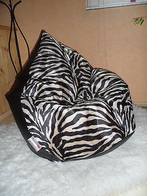 """Sitzsack """"von Lux""""  2XL ca. 430 L Zebra  Lederoptik schwarz für die, über 1,80 m"""