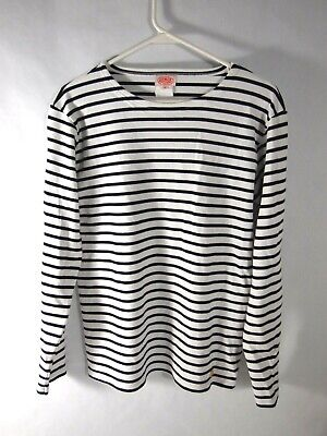 Armour Lux Womens Knit Top T-Shirt Tee M Long Sleeve Boatneck White Navy Stripe