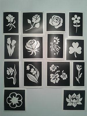 30 x Blumen Schablonen für Glitzer Tattoos / Airbrush stieg Bluebell Mädchen