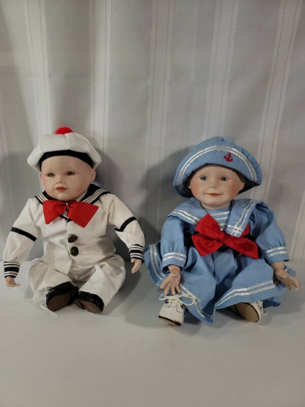 Porcelain China Baby Doll Set Of 2 Sailor Navy Outfit Dress