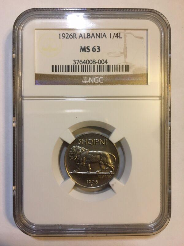 ALBANIA  1926 R  UNC 1/4 LEKU COIN, CERTIFIED NGC MS63