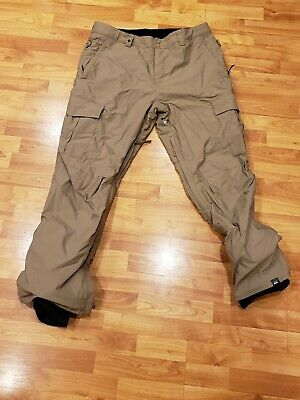 Mens Quiksilver Regular Fit 10K Snow Ski snowboard Pants tan