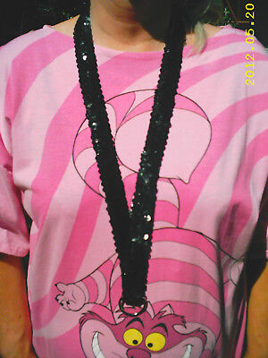 SEQUINED BLACK LANYARD for Work or Your Collectible Pins  NEW Hand Made
