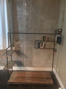 Steel pipe and reclaimed wood clothes rack
