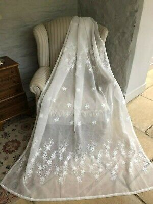 """CLEARANCE CHARMING 52""""X84"""" NEW FRENCH  SHEER CREWELWORK EMBROIDERED CURTAINS"""