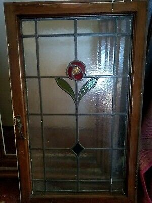 Stained glass window with frame 1934 vintage Art Deco