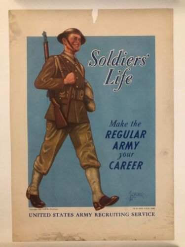 WWII WW2 Original War Poster Soldiers Life US Army Recruiting Career Woodburn