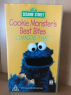 SESAME STREET ~ COOKIE MONSTER'S BEST BITES & IMAGINE THAT! ~ RARE VHS