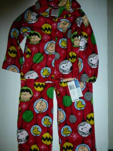 Peanuts Gang Toddler Unisex 3T Red Christmas Sleepwear Holiday Pajama Set New