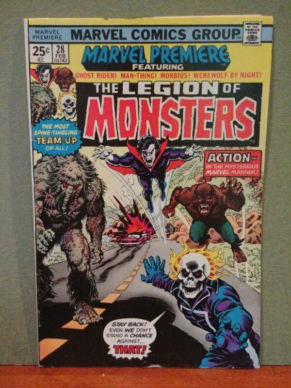 Marvel Premiere #28 5.0+ , 1st Legion of Monsters Ghost Rider Morbius! Comics