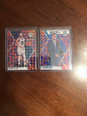 (2) 2019-20 Panini Prizm Mosaic Stephen Curry MVP Red Blue Reactive SP Warriors