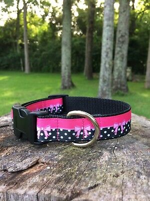 Cute Pink and Black Bow Dog Collar, FREE SHIPPING](Pink And Black Bow)