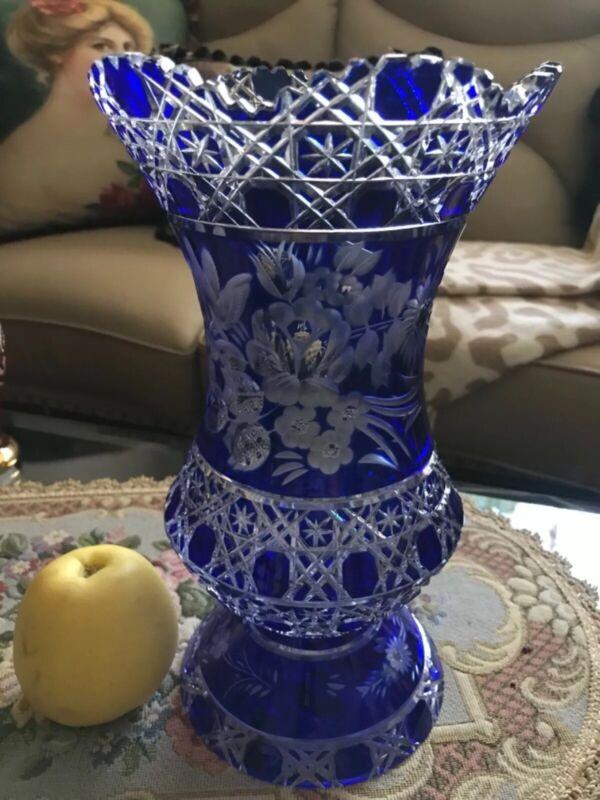 FAB! Vintage Large Signed Meissen Cobalt Blue Cut to Clear Crystal Footed Vase