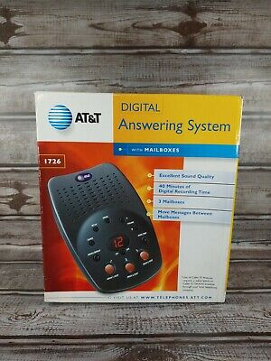 AT&T 1726 Digital Answering System Machine W/3 Mailboxes EXCELLENT NEW Open Box
