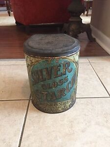 Vintage Silver Gloss starch tin
