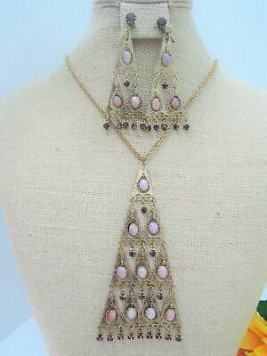 Cabochon Bead Necklace Earrings (VNTG ART DECO EGYPTIAN REVIVAL FIRE OPAL CABOCHON JEWEL DROP NECKLACE)