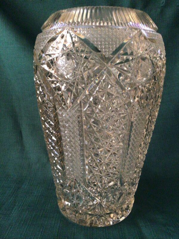 VINTAGE AMERICAN BRILLIANT CUT ORNATE GLASS VASE - ANTIQUE ART GLASS