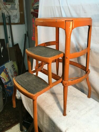 Vtg rustic Steel  Cosco 3  Step Stool Kitchen  Painted  Orange   Country Cottage