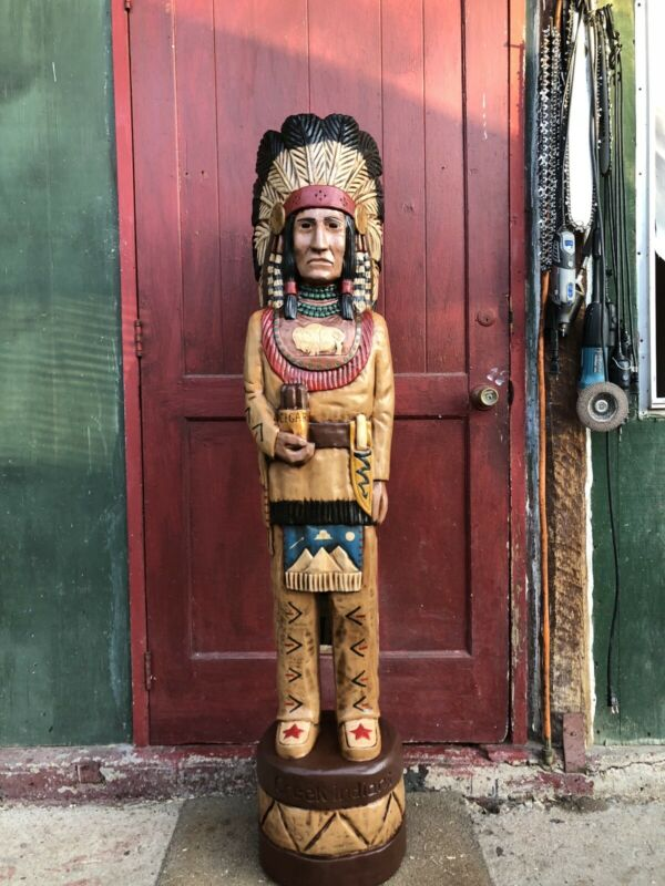 John Gallagher Carved Wooden Cigar Store Indian 5 ft. Tall Statue White Buffalo