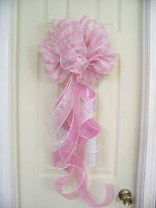 Baby shower girl pink white stripe mesh bow birth for Baby girl hospital door decoration