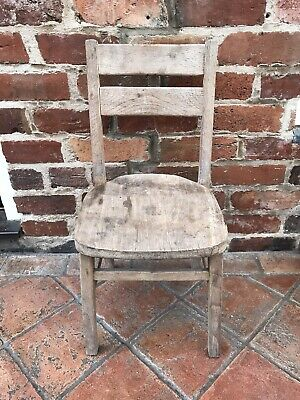 Childrens Wooden School Chair Antique Kids Vintage