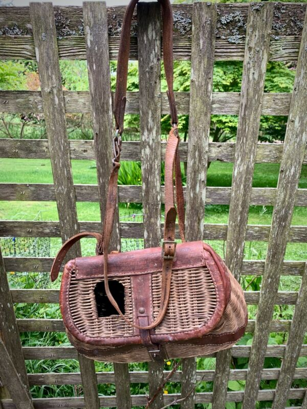 Vintage Fly Fishing Creel Basket w/ Leather Straps Wicker & Leather 1950s/1960s
