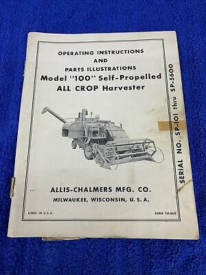 Allis Chalmers All Crop 100 Harvester Combine Parts Operating Catalog Manual