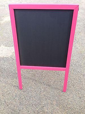 Sidewalk Announcement Black Chalkboard Easel 24 X 39 Pink Hardwood Frame Menu