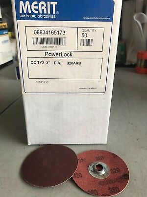 Merit Powerlock 3 Sanding Discs 320 Grit 65173 50 Count