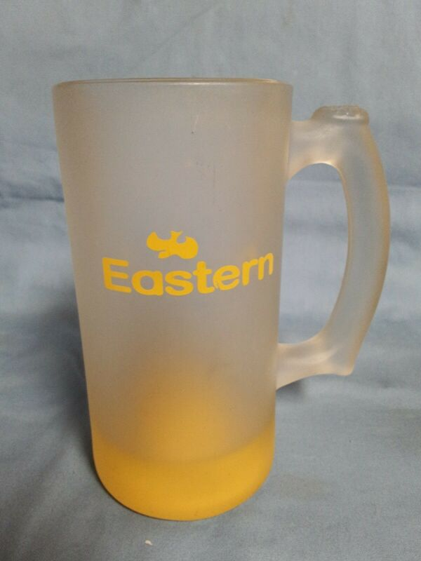 RARE! EASTERN AIRLINES YELLOW BIRD LOGO FROSTED BEER GLASS.