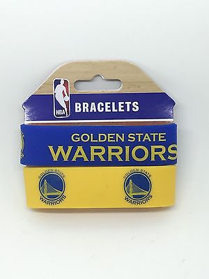 Nba Golden State Warriors Rubber Silicon Bracelet Wristband 2 Pack