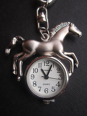 "NEW ""VERSALES"" HORSE KEYCHAIN WATCH Keyring Western Wear Silver Key Chain"