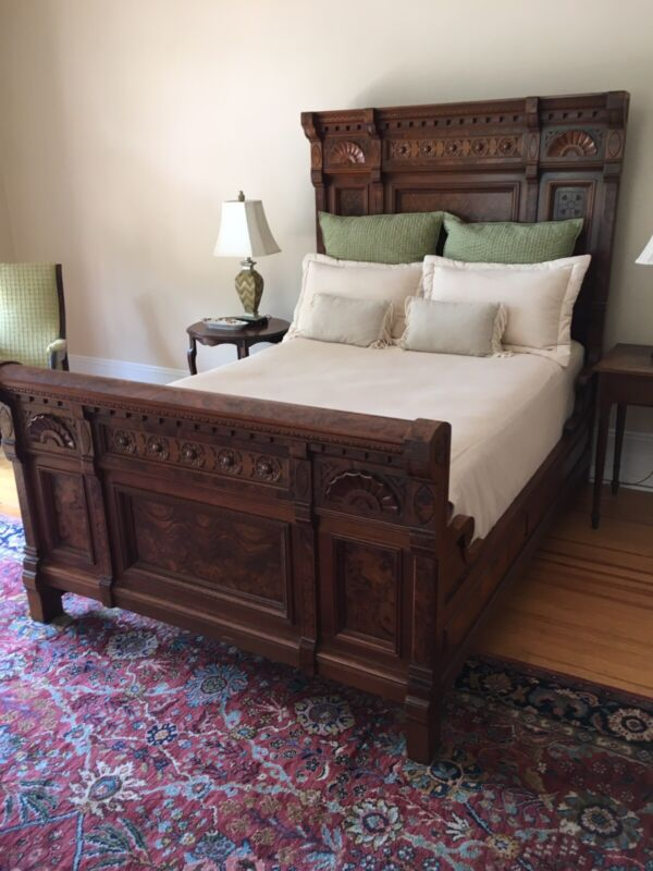 Burl Walnut Bed and Matching Marble Top Dresser Antique