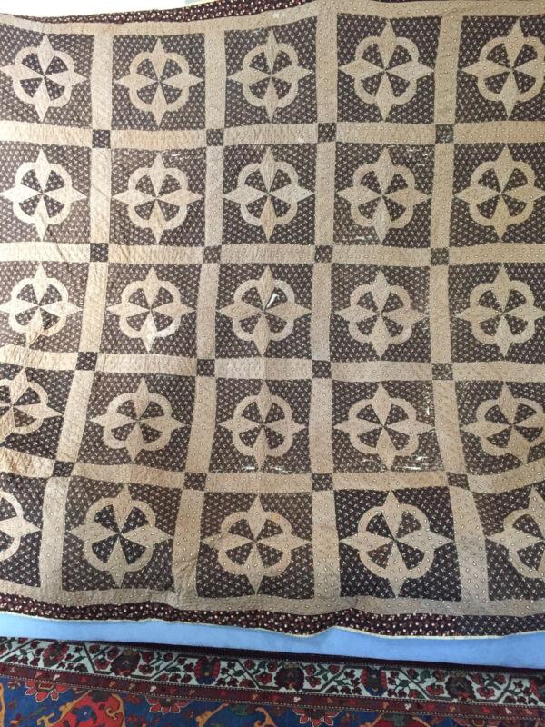 Quilt Brown Fabrics Pieced Antique