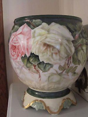 Antique Hand Painted Porcelain Jardiniere LARGE ROSES Limoges Planter