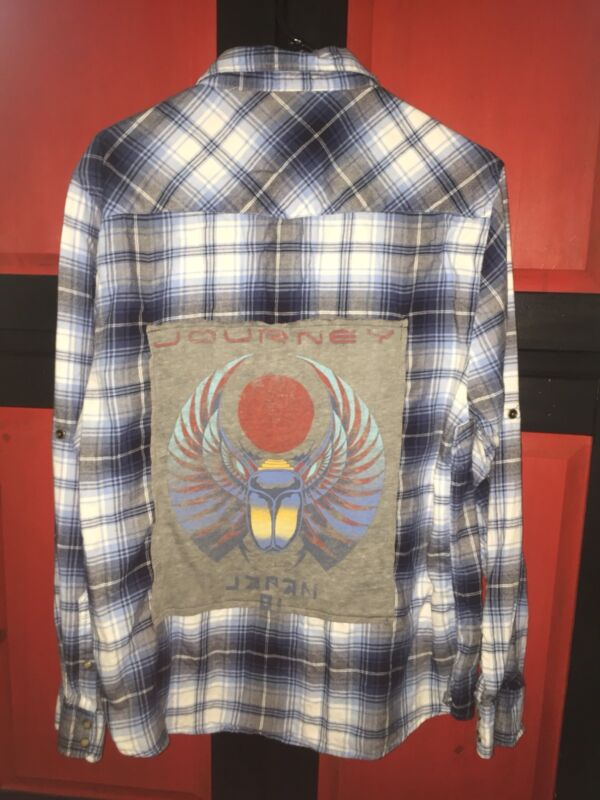 """SHIRT PLAID FLANNEL """"CUSTOM WITH BAND 'JOURNEY' ON BACK"""