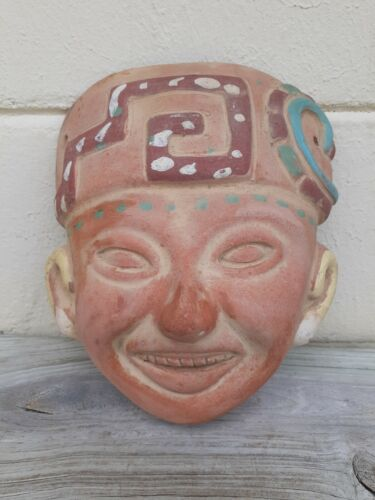 Vintage Mexican Mask- Terra Cotta Red Clay Hand Painted Tribal Mask