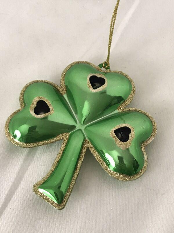 "3 Leaf Clover Jingle Metal Ornament Green Gold Glitter Lucky Irish 4"""