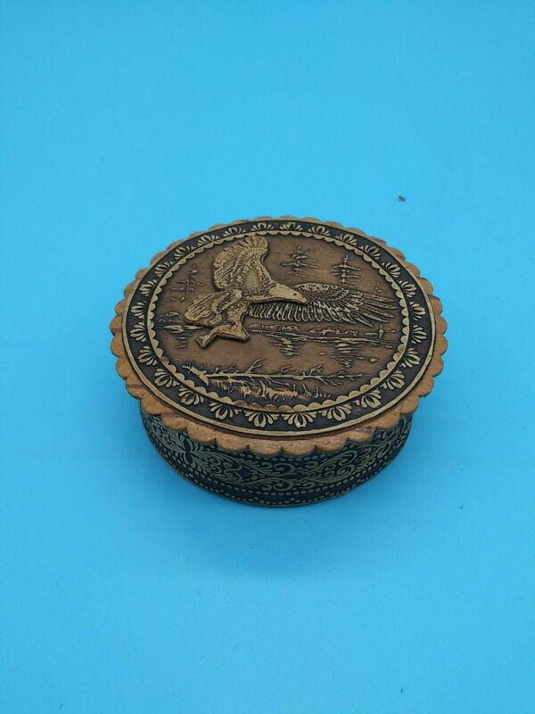 Beautiful Russian Carved Wood Sewing Pin Needle Box Eagle Forrest R5