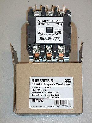 Siemens Contactor 60 Amp 3 Pole 208 240 V. Coil 42ef35ag 75 Amp Resistive