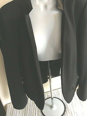 Rebecca Taylor sz 10 black poly/rayon jacket real leather band collar, - Poly Leather Band