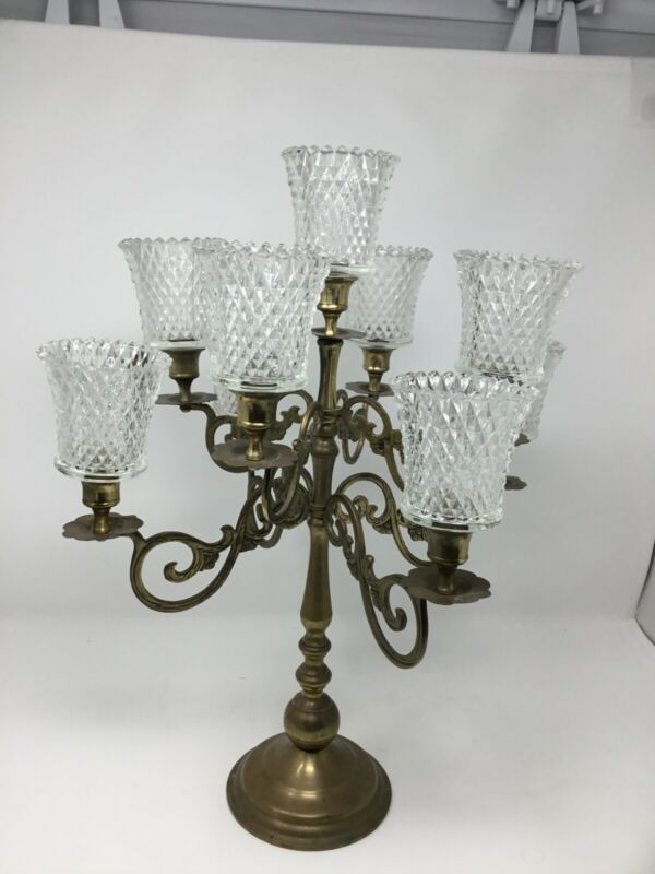 Vintage Brass candelabra with 9 votives