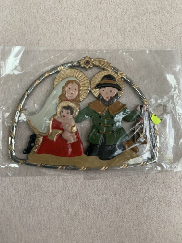 GERMAN PEWTER BEAUTIFUL NATIVITY CHRISTMAS ORNAMENT NEW Holy Family